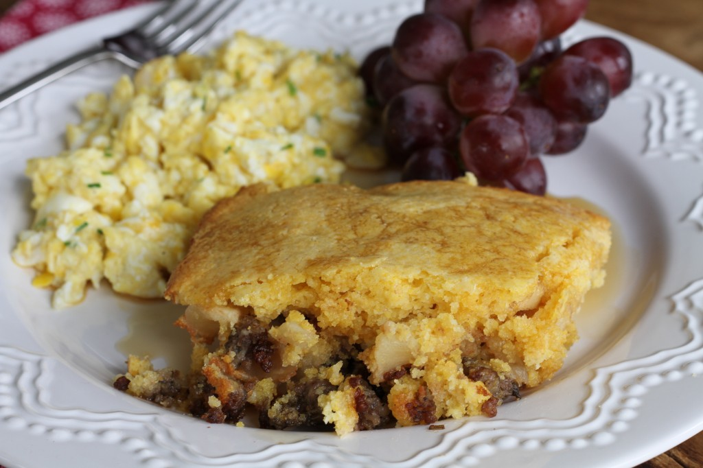 Piggy Pudding for breakfast! Cornbread, sausage, and spiced apples make up this fantastic breakfast casserole from Brittany's Pantry