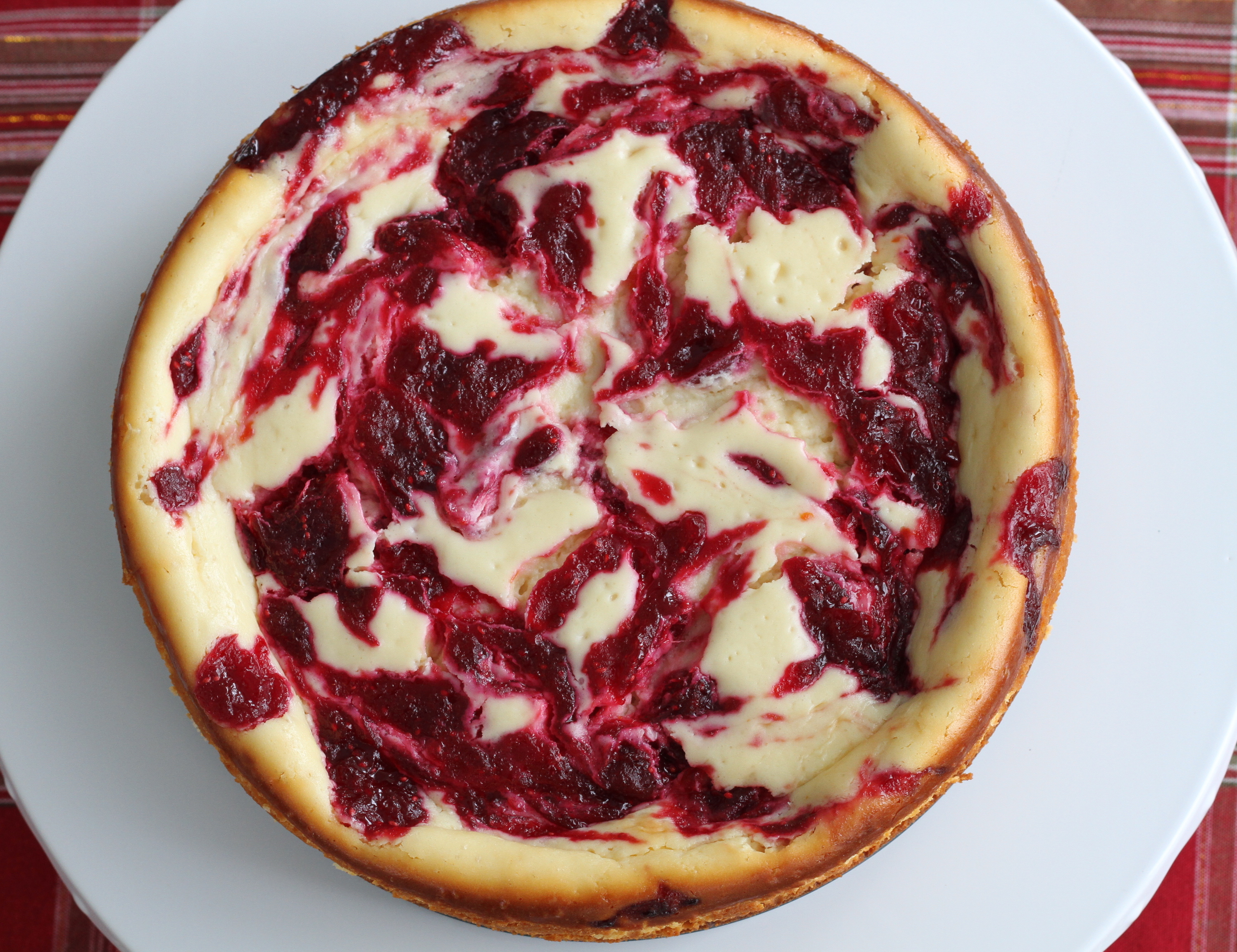 White Chocolate Cranberry Swirl Cheesecake : Brittany's Pantry