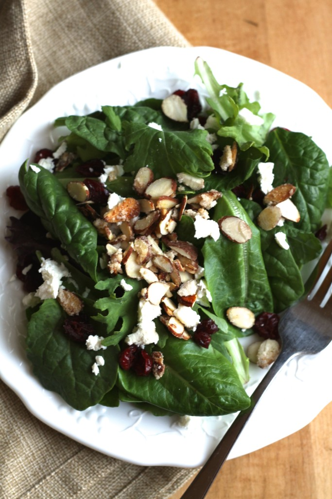 Winter Salad W/Dried Cranberries & Feta is as tasty as it is beautiful! {Brittany's Pantry}