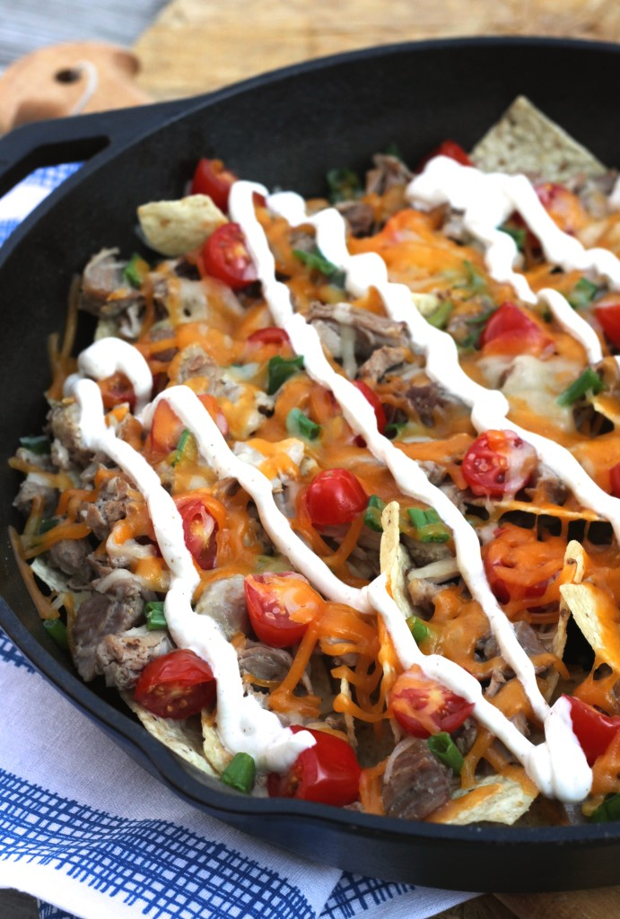 Pork Carnita Nachos W/Chipotle-Lime Crema via Brittany's Pantry