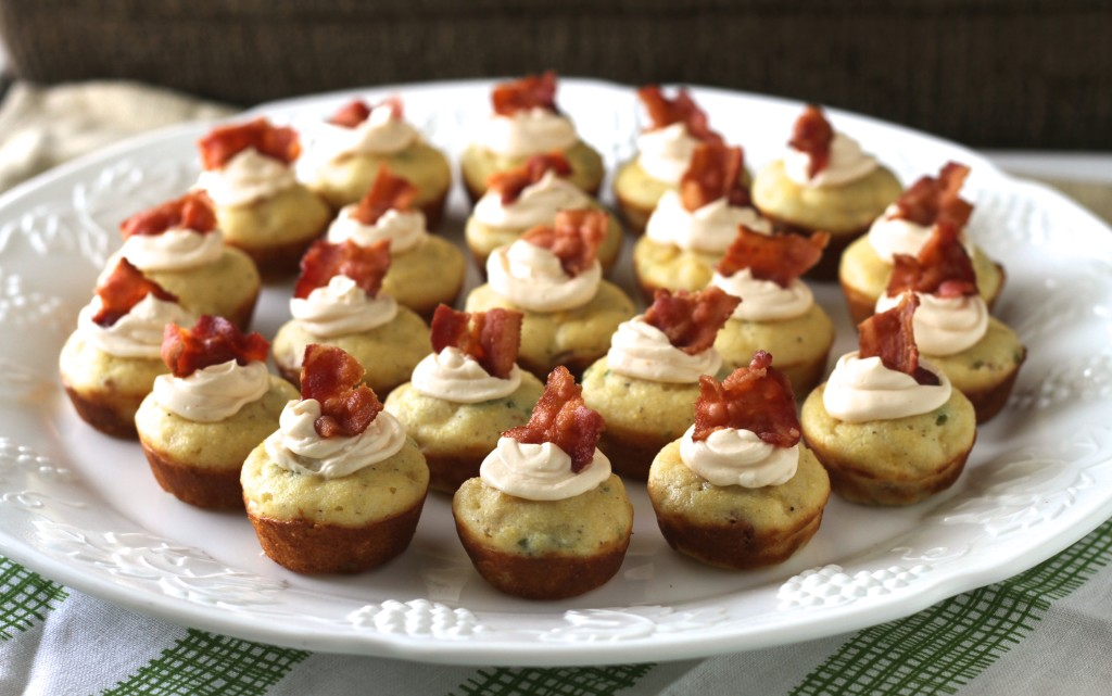 Mini Corn Muffins W/Bacon, Chives, & Spicy Whipped Cream Cheese