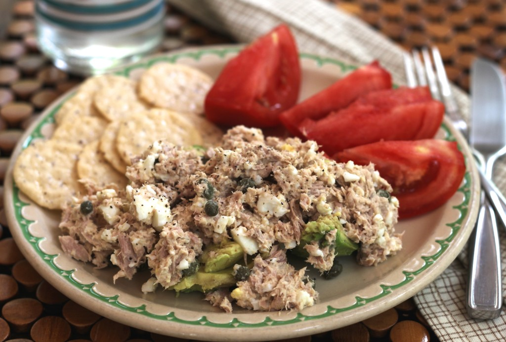 This Tangy Tuna Salad goes perfectly with the cool and creamy avocado!  Scrumptious and gluten free, this is a the perfect lunch dish! {Brittany's Pantry}
