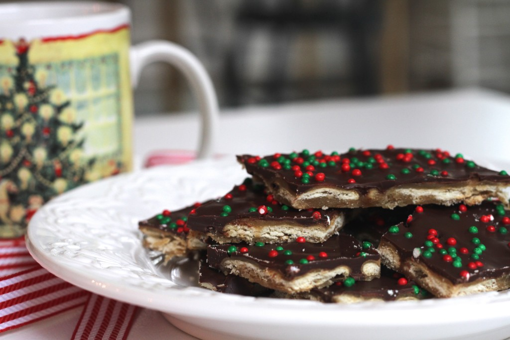 The classic Christmas Cracker Toffee is everyone's favorite during the holidays. And less than 5 ingredients! {Brittany's Pantry}